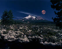 Mount Shasta and Moon